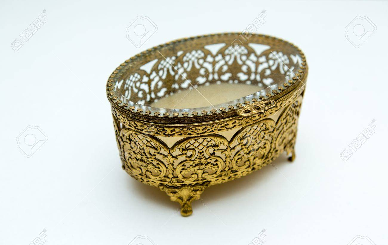 Vintage Jewelry Box Gold Filigree Beveled Glass RomanticRetro
