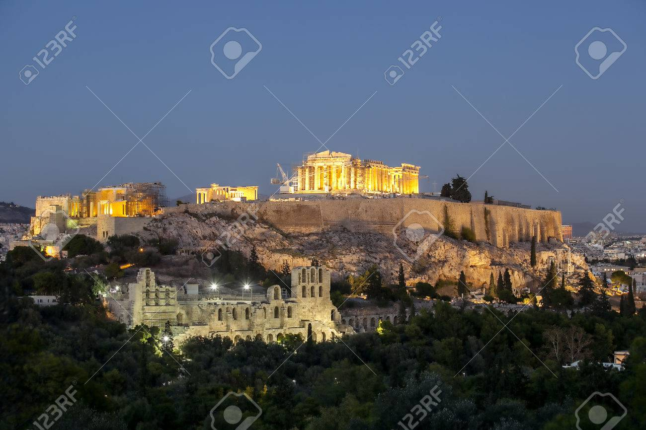 acropolis and herod atticus at night stock photo picture and