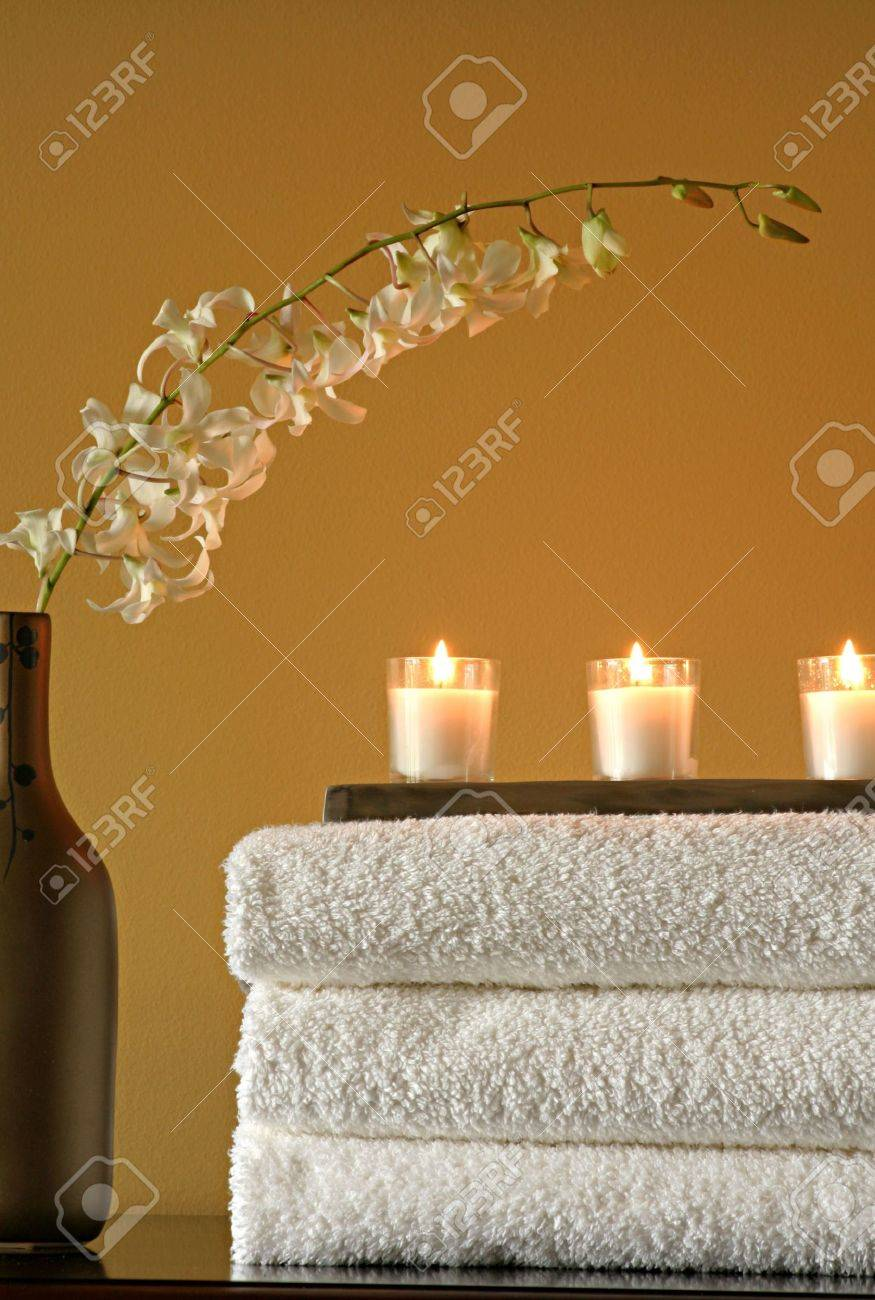 Spa Towels with Candles and Vase with Flowers Stock Photo - 2511321