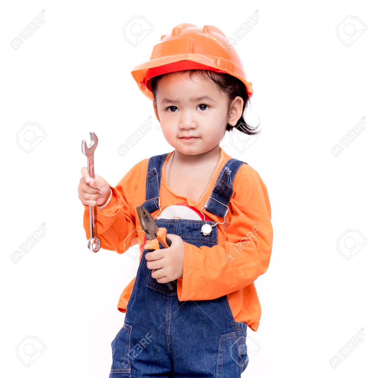 70e411ff068 Asian Engineer baby with tools in hand Isolated on white background Stock  Photo - 28381772