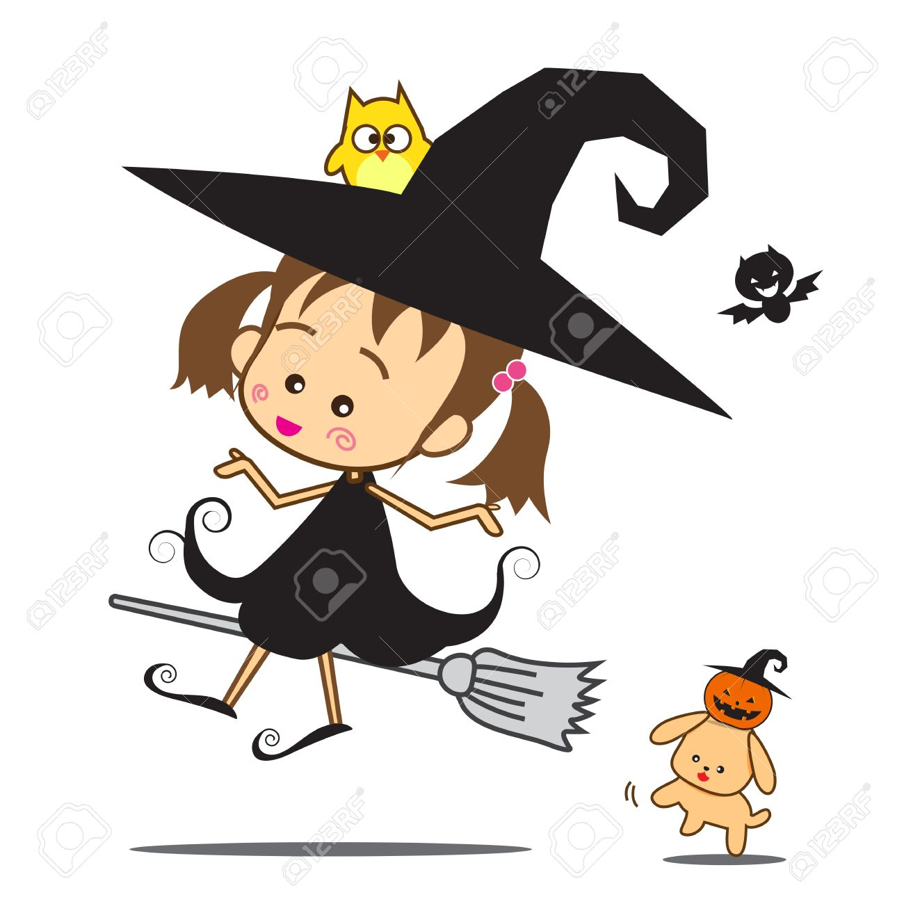 isolated halloween cartoon cute little baby witch vector