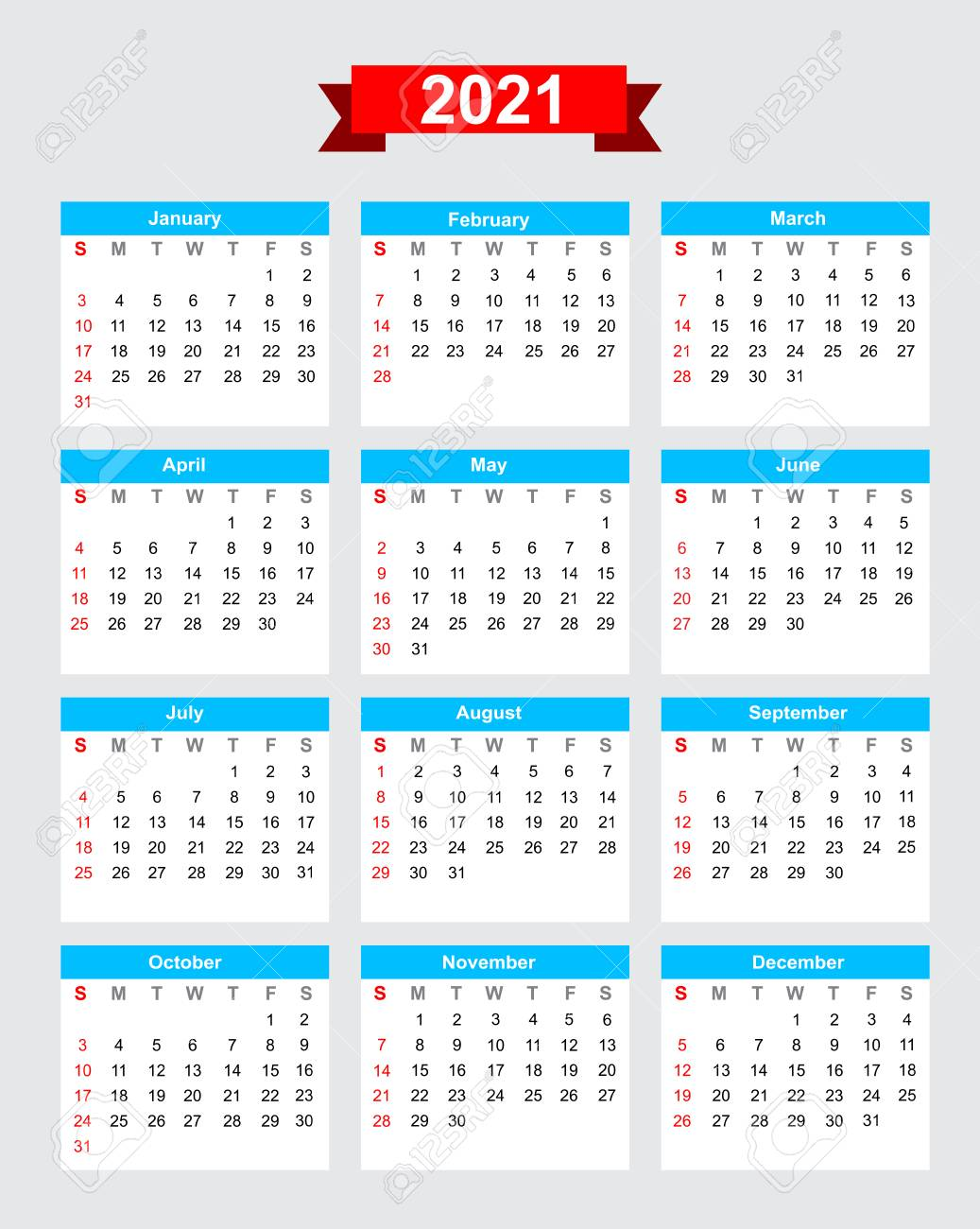 2021 Calendar Week Start Sunday Vector Royalty Free Cliparts