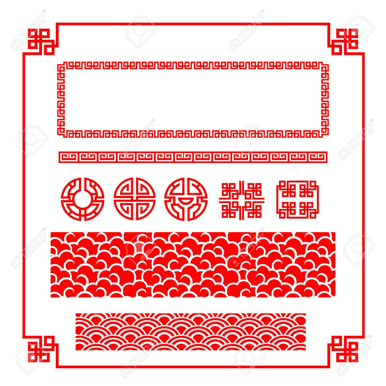 Chinese happy new year red border for decoration design element illustration - 50602133