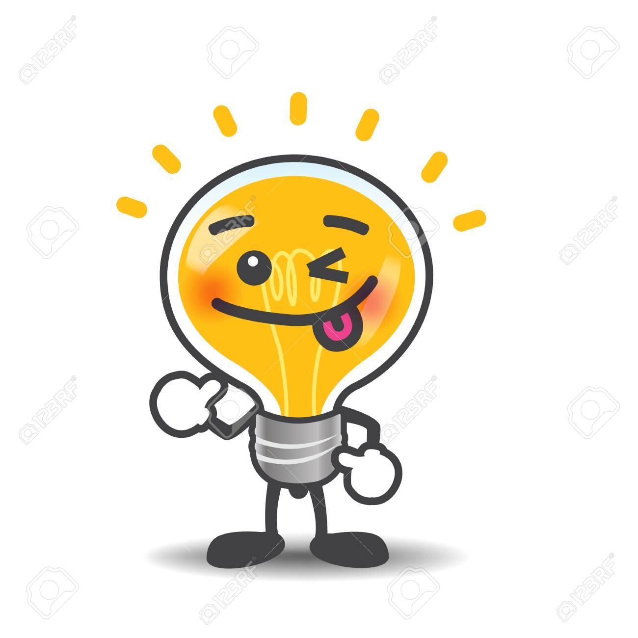 Ampoule Dessin ampoule dessin animé lampe montrant isolé pouce sur le fond blanc