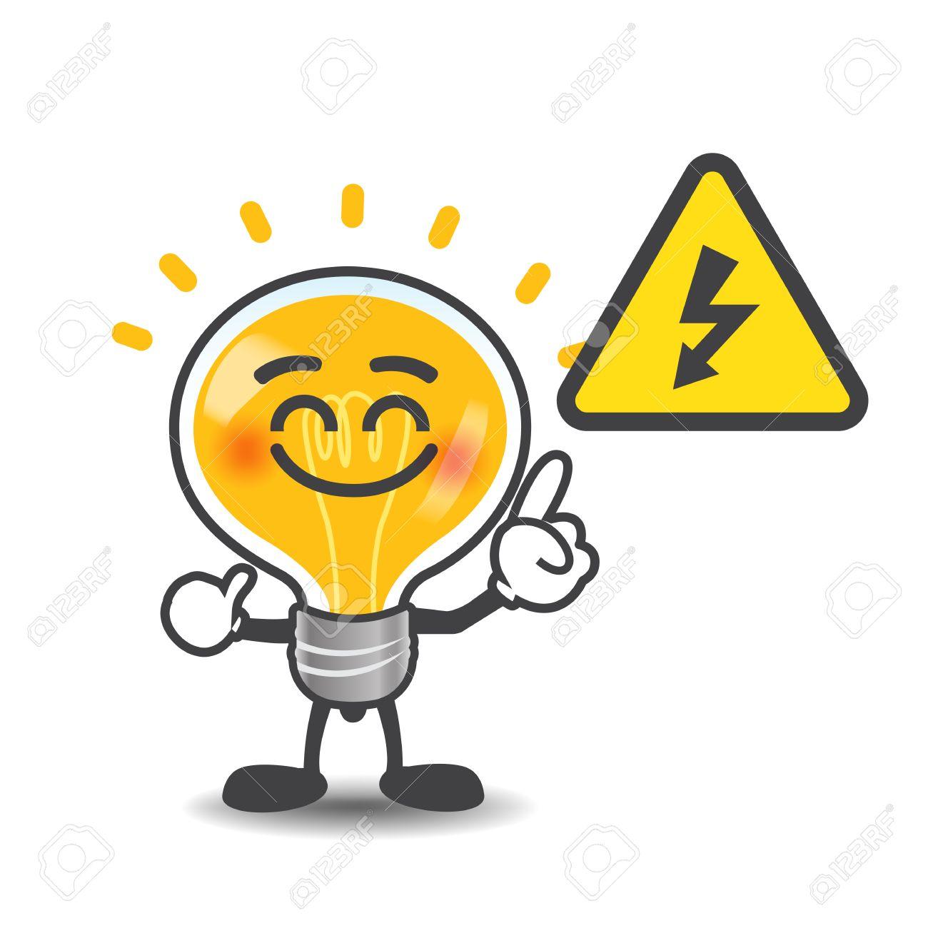 Birnen-Lampe Karikatur Zeigt Auf Elektrische Energie-Volt-Symbol ...