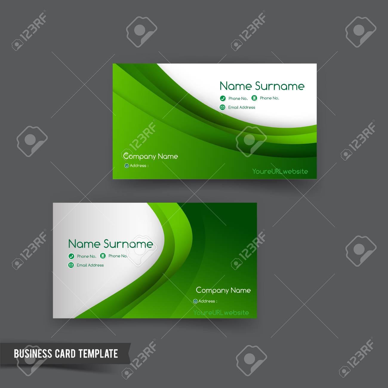 Modele De Carte Visite Defini Element Courbe Verte Pour L