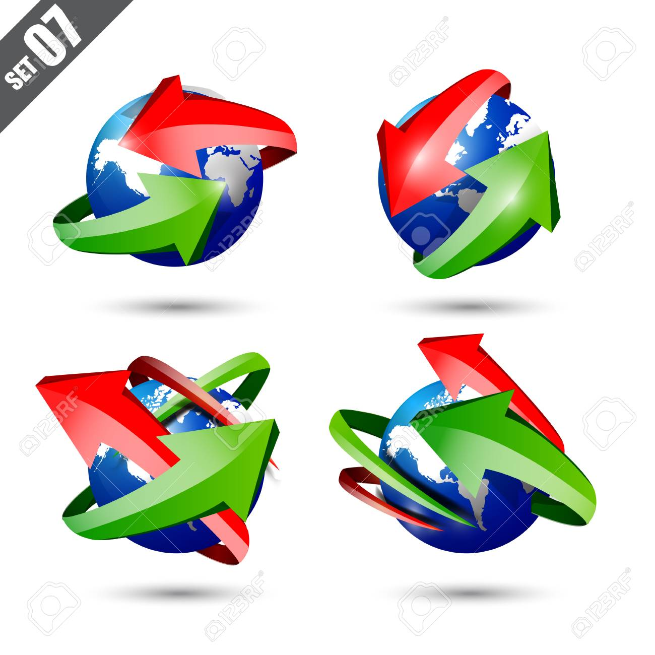 Collection of defference 3d globe and world map with green and collection of defference 3d globe and world map with green and red shine arrow wrap it gumiabroncs Gallery