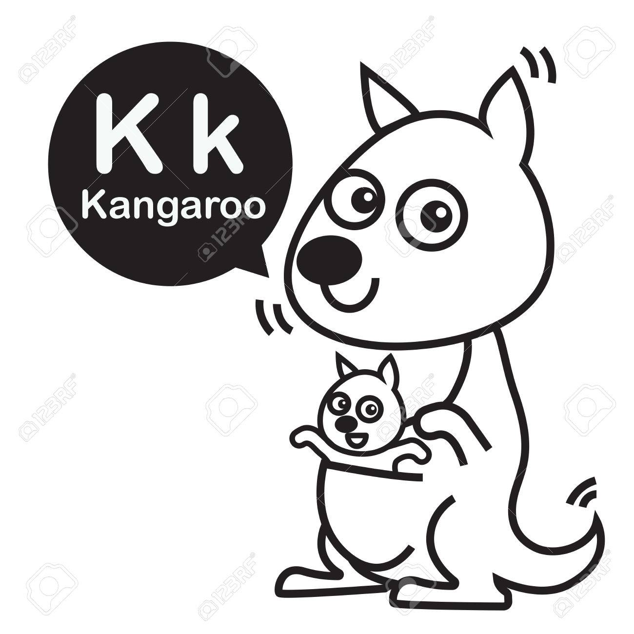 K Kangaroo Cartoon And Alphabet For Children To Learning Coloring Page Vector Illustration Eps10 Stock
