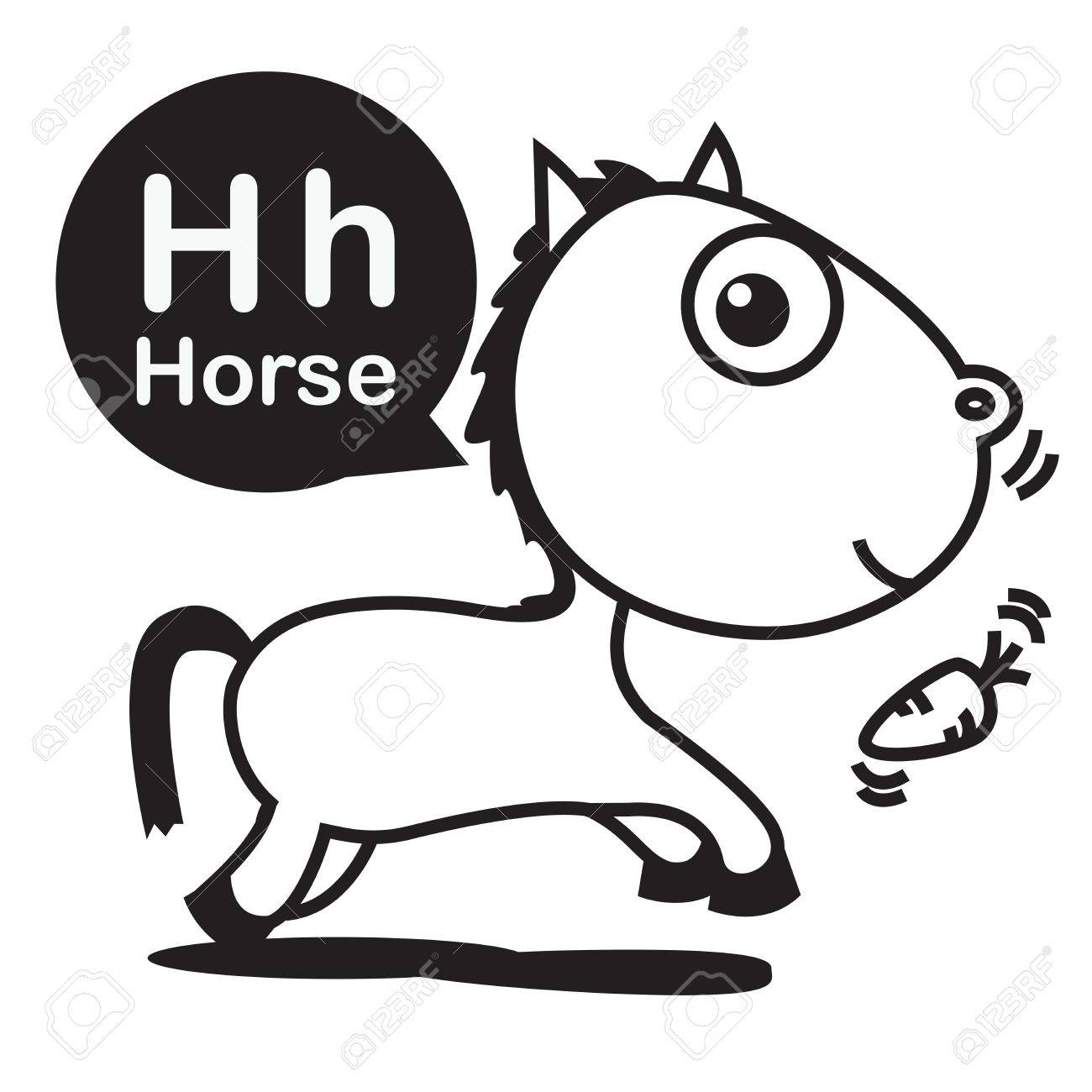 H Horse Cartoon And Alphabet For Children To Learning Coloring Page Vector Illustration Eps10 Stock