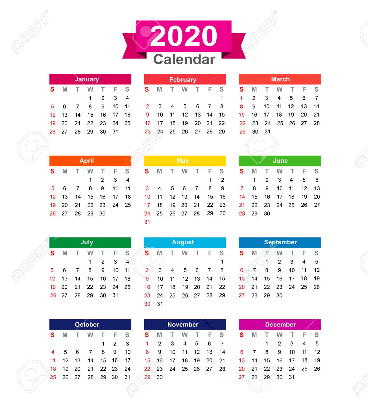 Calendrier De L Annee 2020 Isole Sur Illustration Vectorielle Fond Blanc