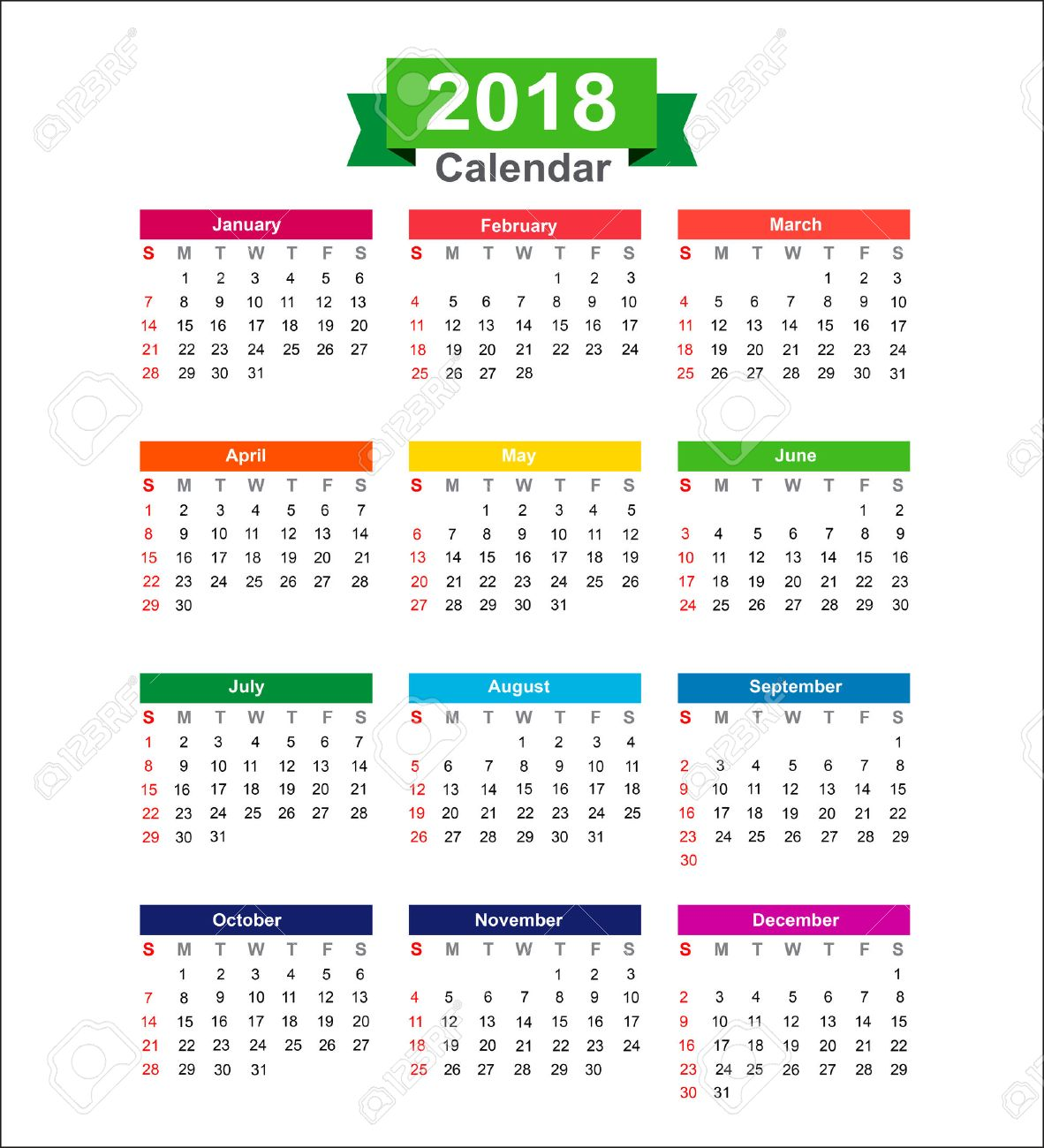 2018 year calendar isolated on white background vector illustration stock vector 60513835