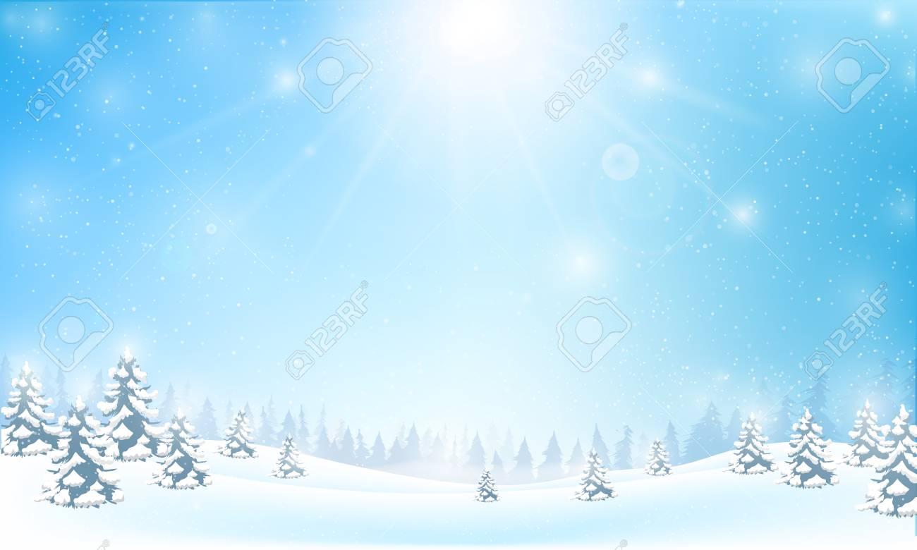 Winter Schneeflocke Fallen In Schnee Boden Und Beleuchtung über Blau ...
