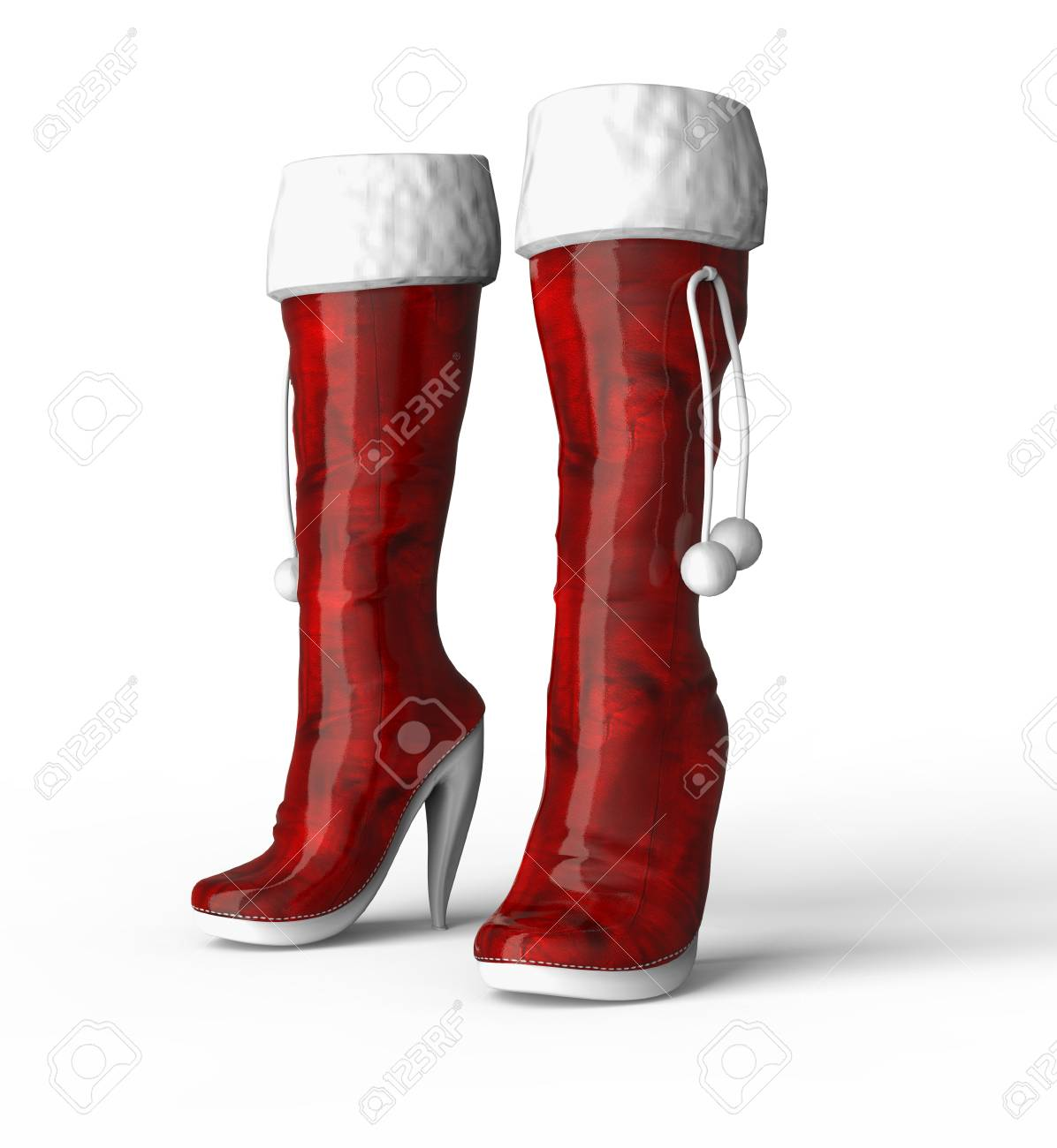 Two Red Christmas Womens Boots Isolated