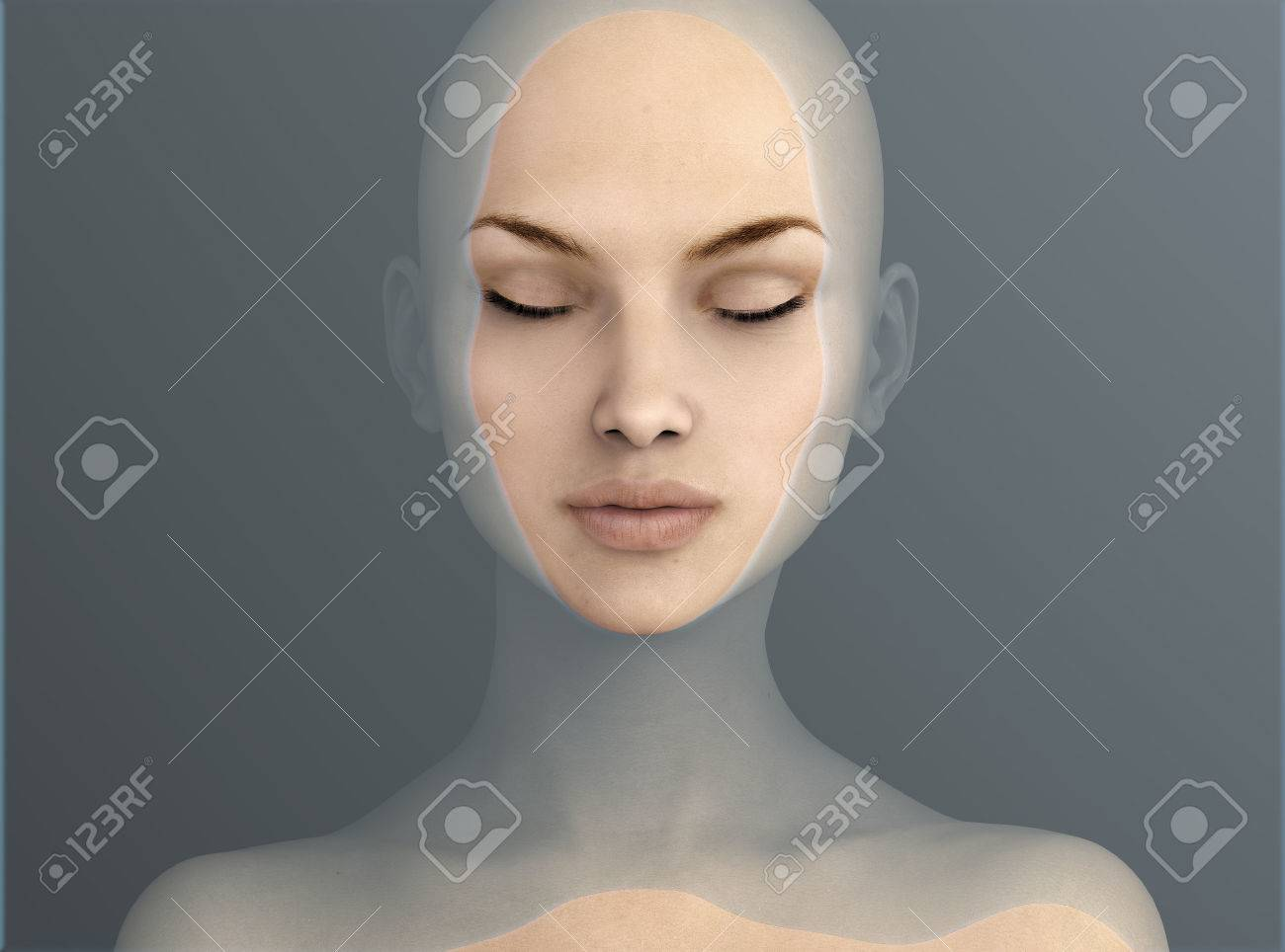 woman floating in water, 3d illustration - 58961854
