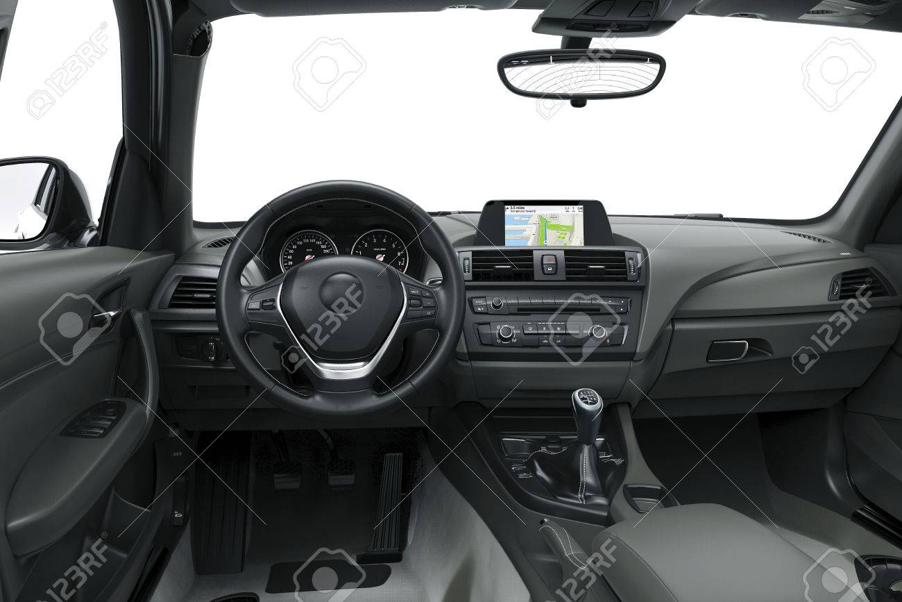 the inside or interior of a modern car 3d illustration stock photo