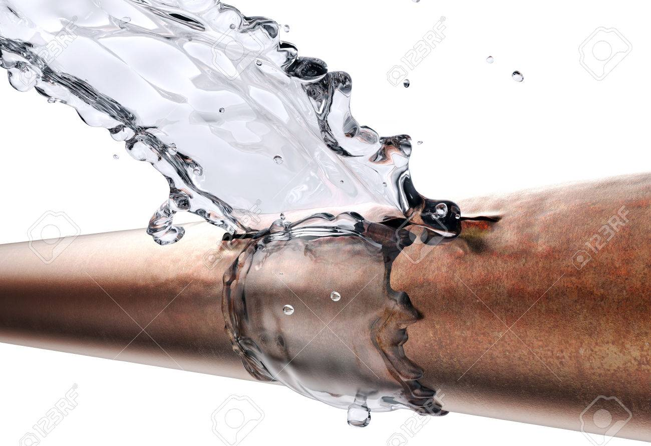 broken pipe is leaking water, isolated on white. 3d illustration - 85807337