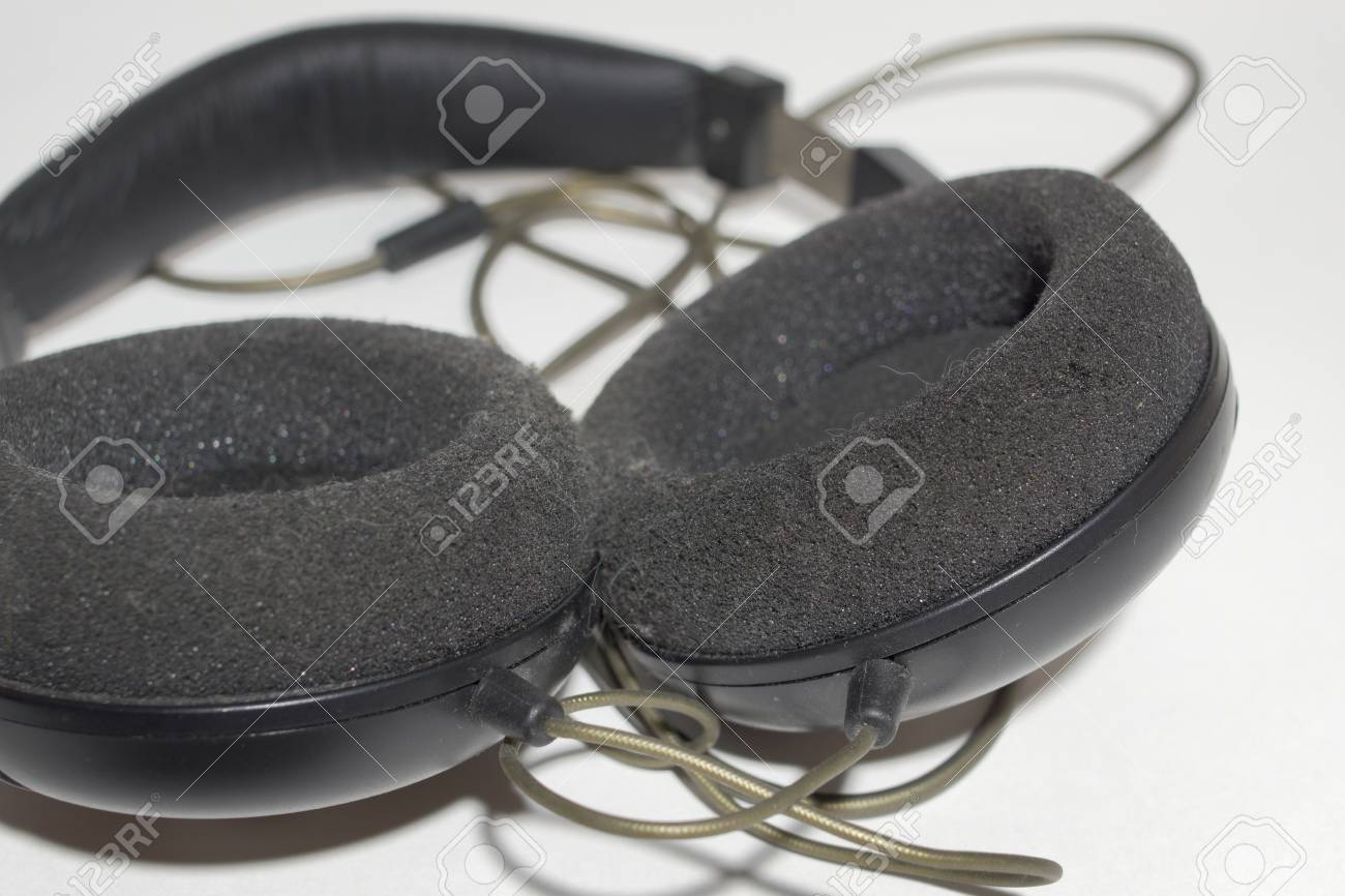 stock photo - wires base of stereo headphones