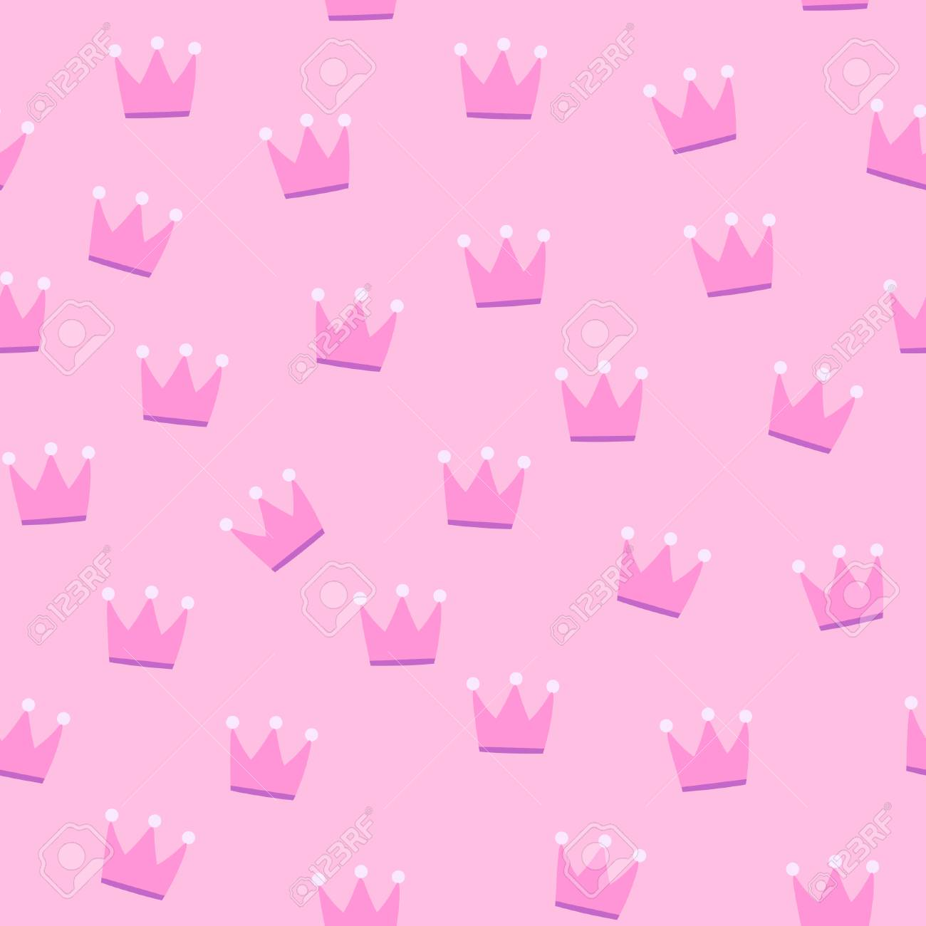 Pink Crowns On Pink Background Seamless Pattern Stock Photo Picture