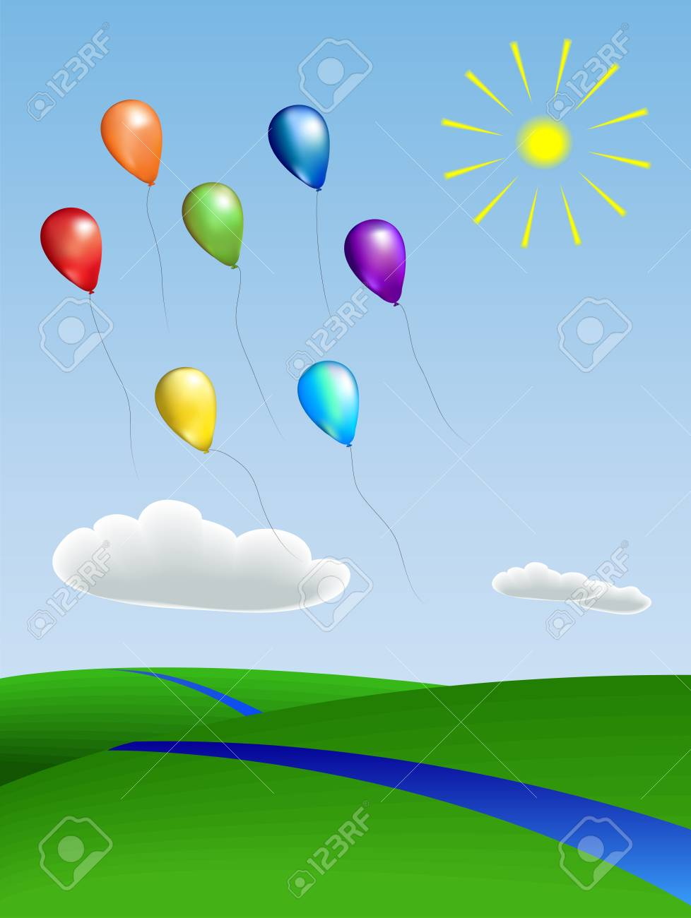 balloons with the landscape Stock Vector - 13942430