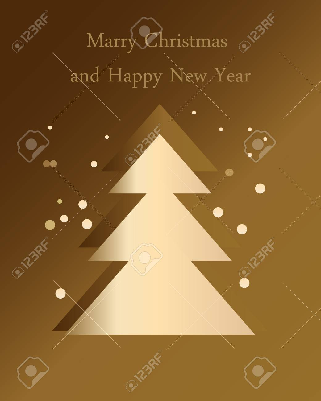 Christmas tree and snowfall on a gold background Stock Vector - 15506318