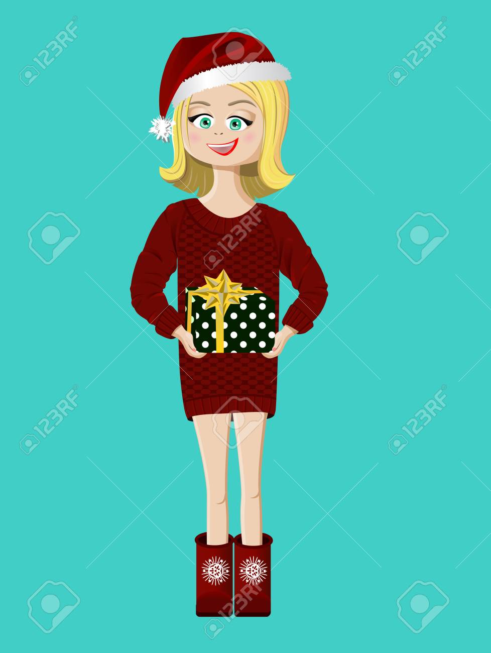 Young happy girl with a Christmas gift Stock Vector - 16458505