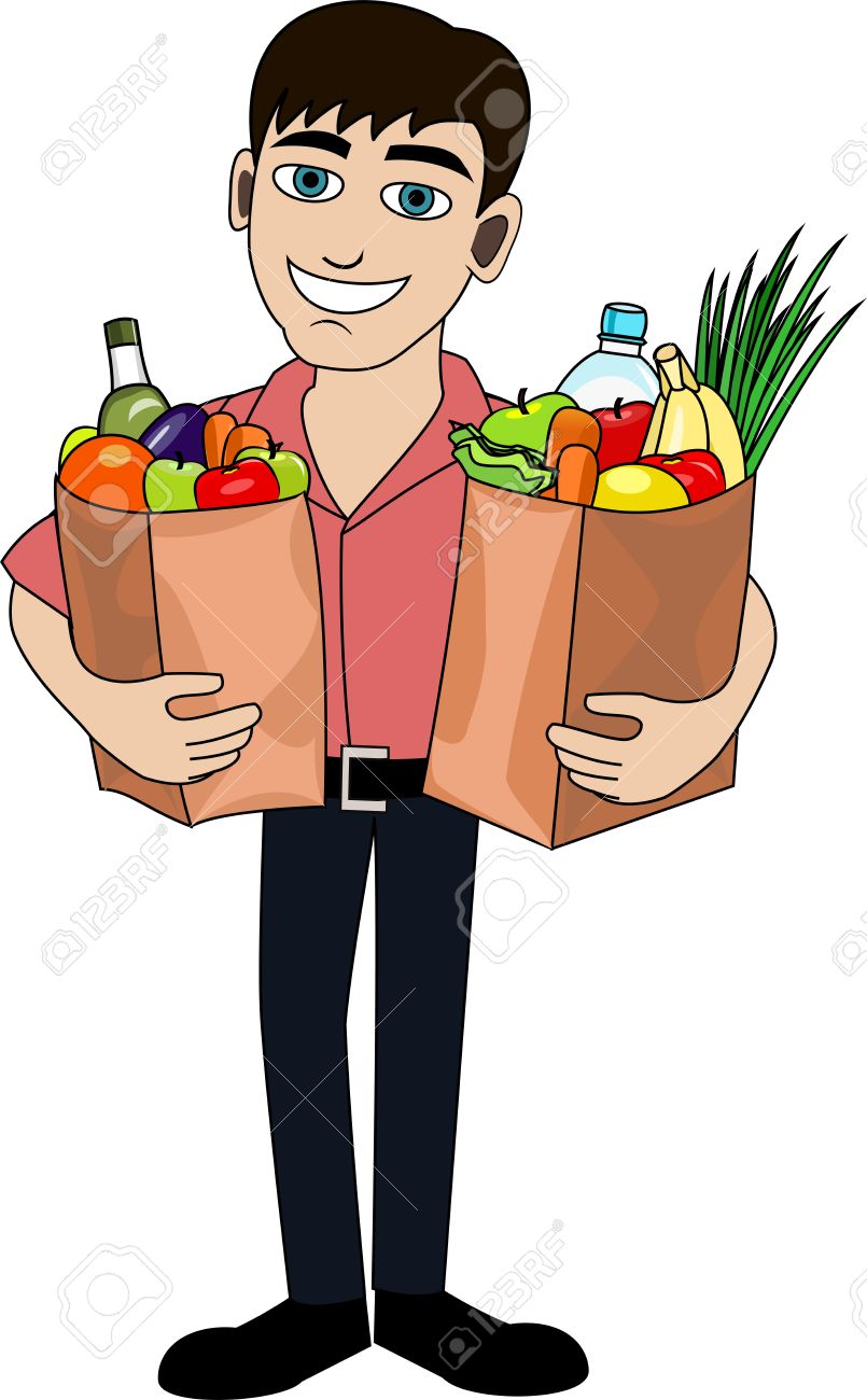 Handsome Man Is Holding A Bag Full Of Healthy Food Shopping Royalty