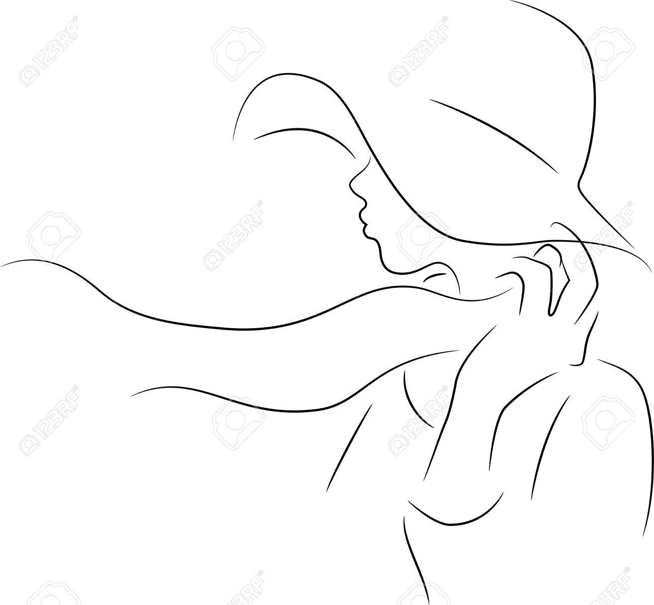 A woman with a hat silhouette Stock Vector - 19719891