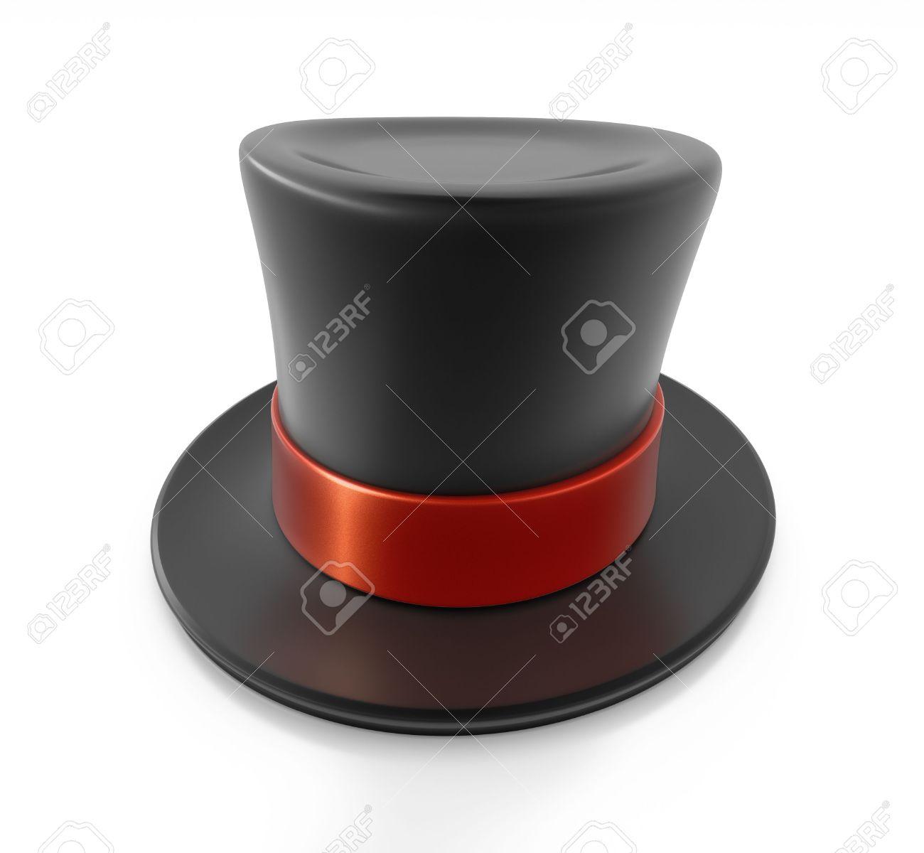 ccd5a39ee61b4 Foto de archivo - Sombrero de copa negro con franja roja. De alta  resolución de la ilustración en 3D con trazados de recorte.
