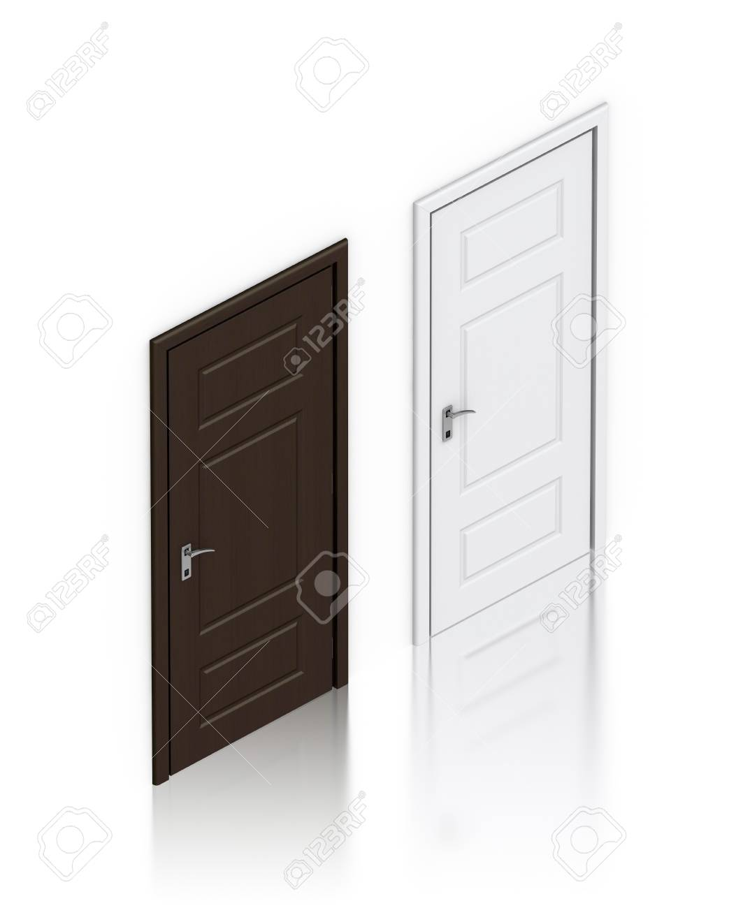 Wooden dark and white painted doors. High resolution 3D illustration Stock Illustration - 13050046