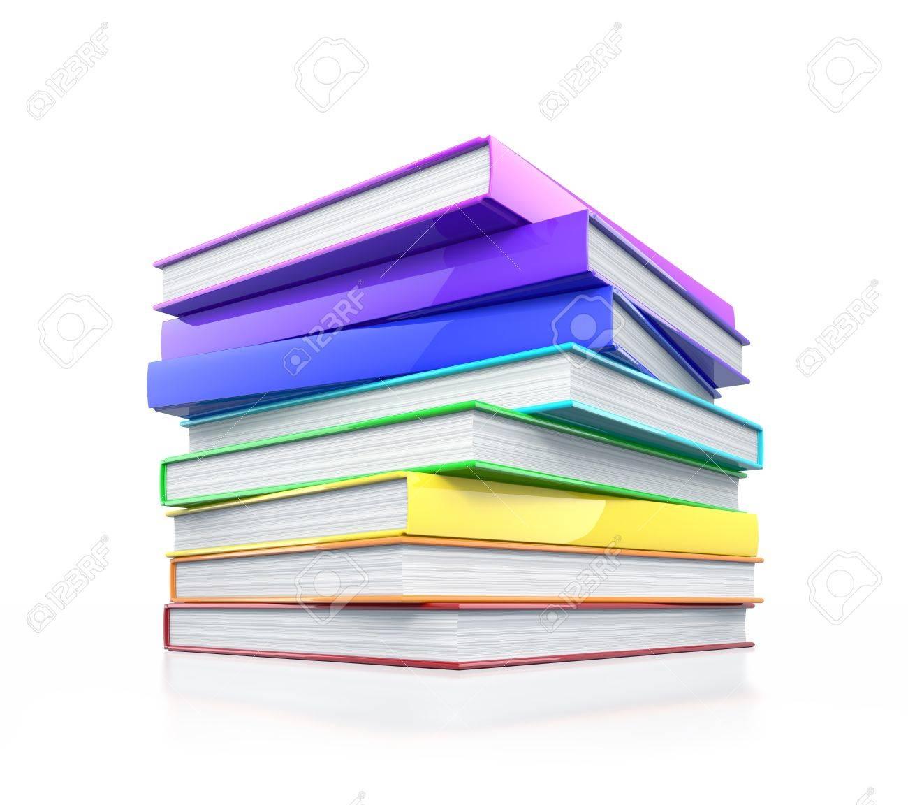 Pila De Libros Coloridos Brillantes. Ilustración De Alta Resolución ...