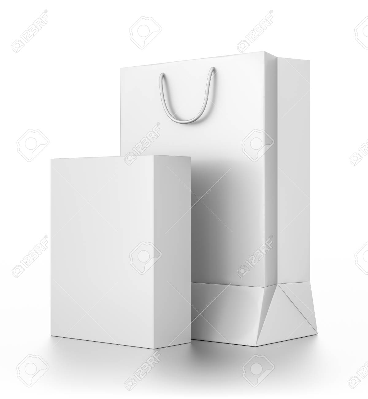 423e246900 White vertical rectangle bag and box from front side angle. 3D illustration  isolated on white