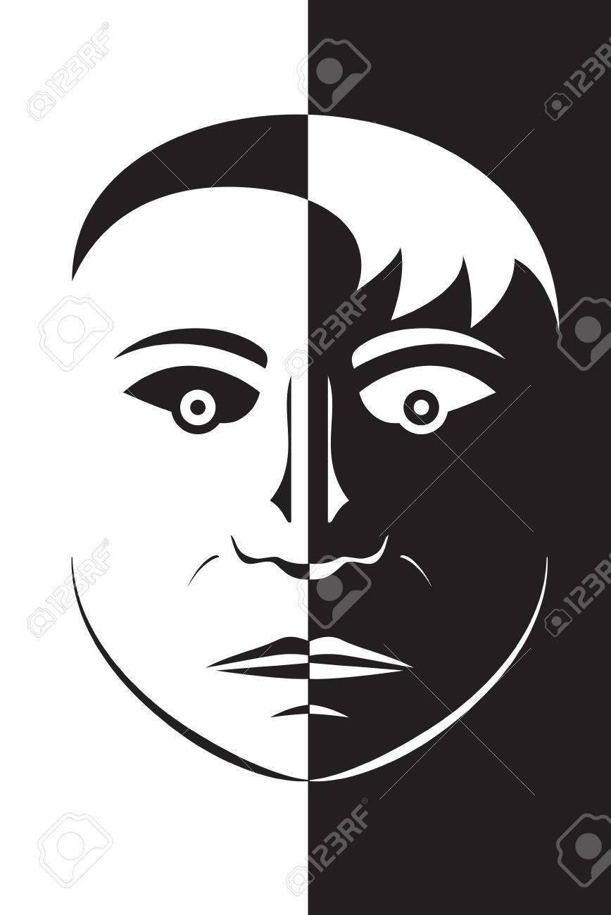 Vector Illustration Opposite Black And White Head Face Silhouette ...