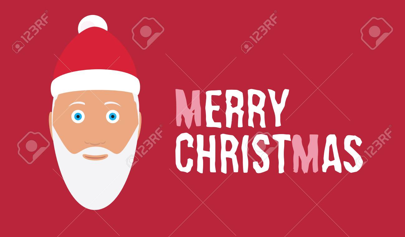 Nice Merry Christmas Wish On Red Background Card With Cartoon ...