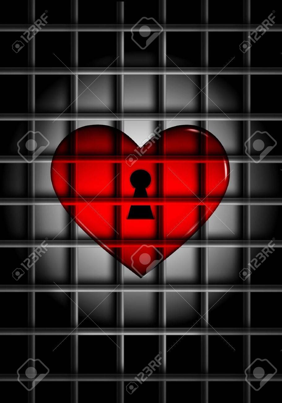 3D computer rendered illustration of red glossy heart behind metal bars in the spotlight Stock Illustration - 9754090