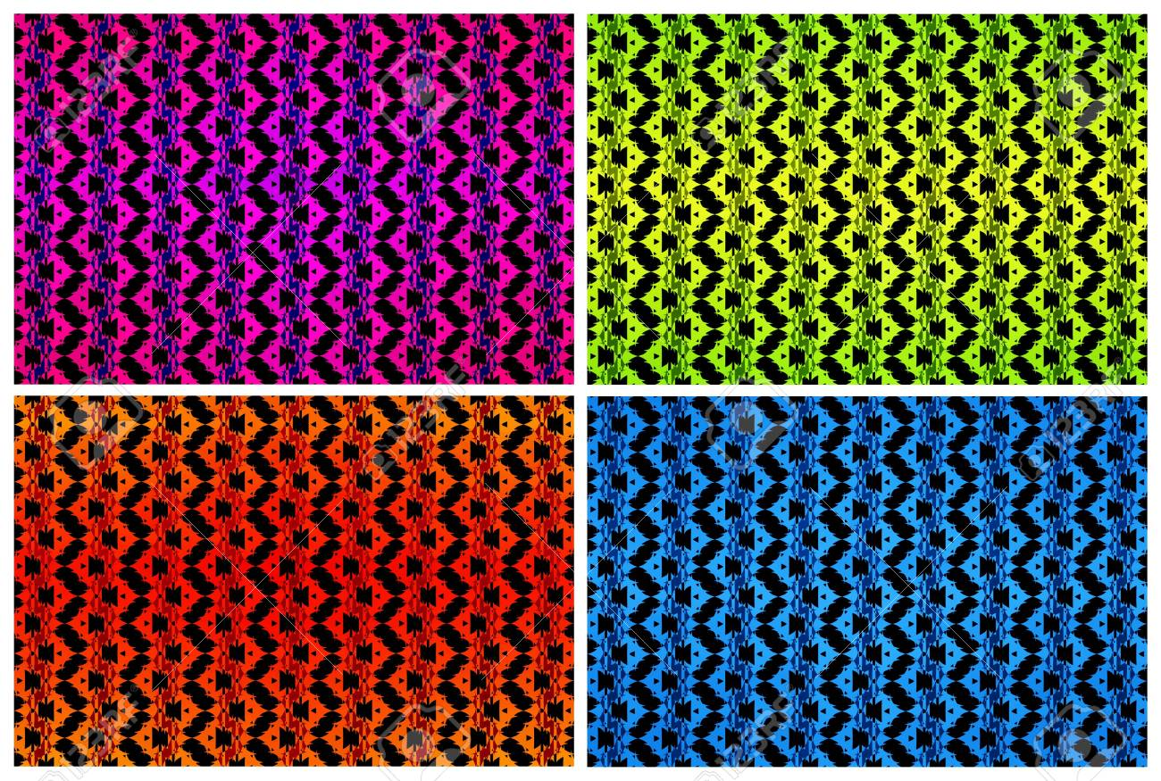 Set of four backgrounds with abstract repeated pattern Stock Photo - 9755093