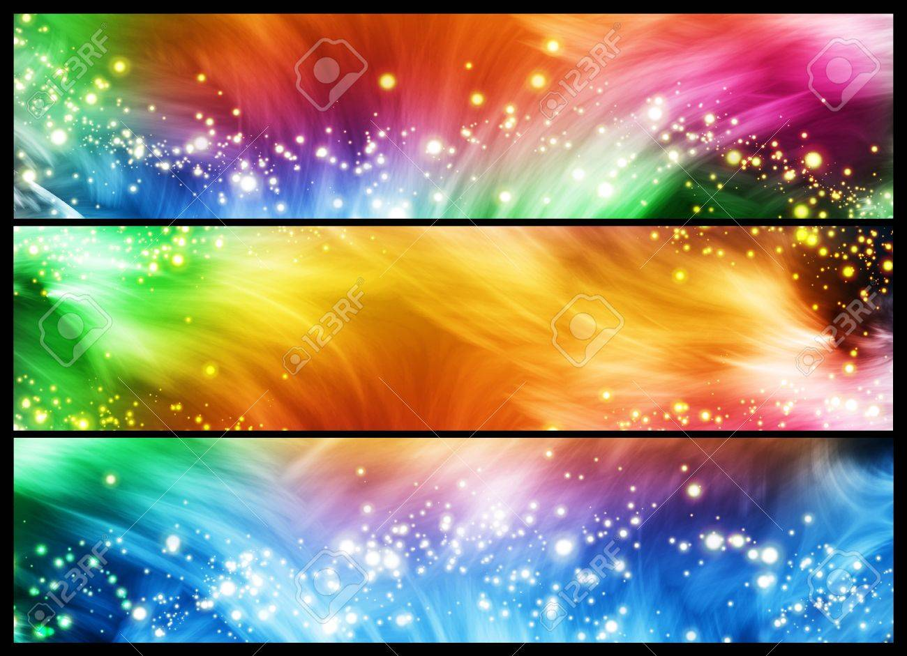 Set of three colourful banners with lines and sparkles Stock Photo - 9754162