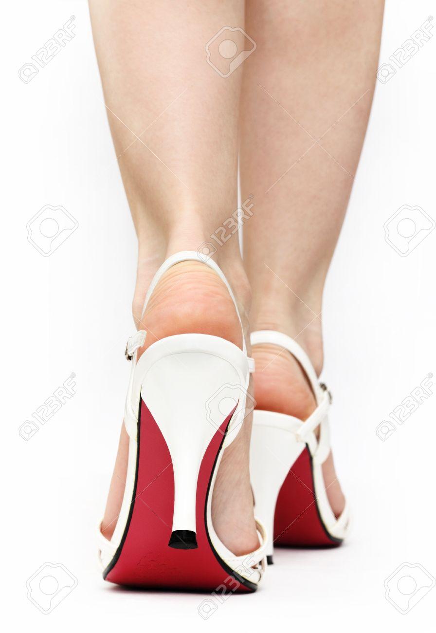 Blanco Con Sandalias Una Los Pies Cierre De Color Sobre Única Caminata Caucásicas Mujeres Rojo Las En Fondo Encaje 7yYf6gvb