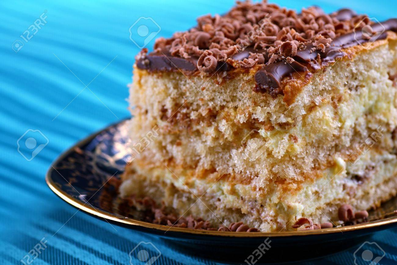 Nahaufnahme Von Stuck Keks Kuchen Mit Schokolade Und Sahne