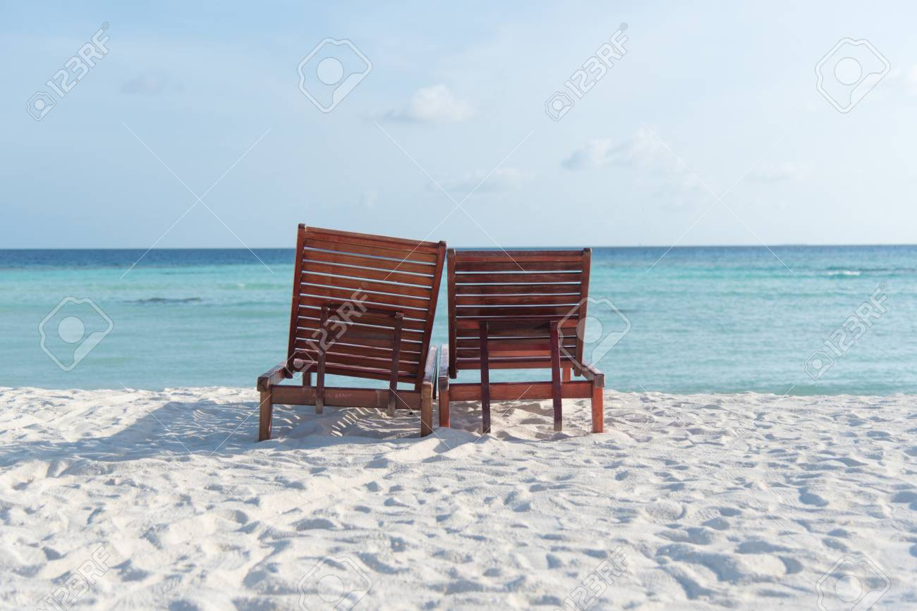 Two Beach Chairs On A Clean Sunny Beach At Maafushi Island Maldives Stock Photo Picture And Royalty Free Image Image 85508263