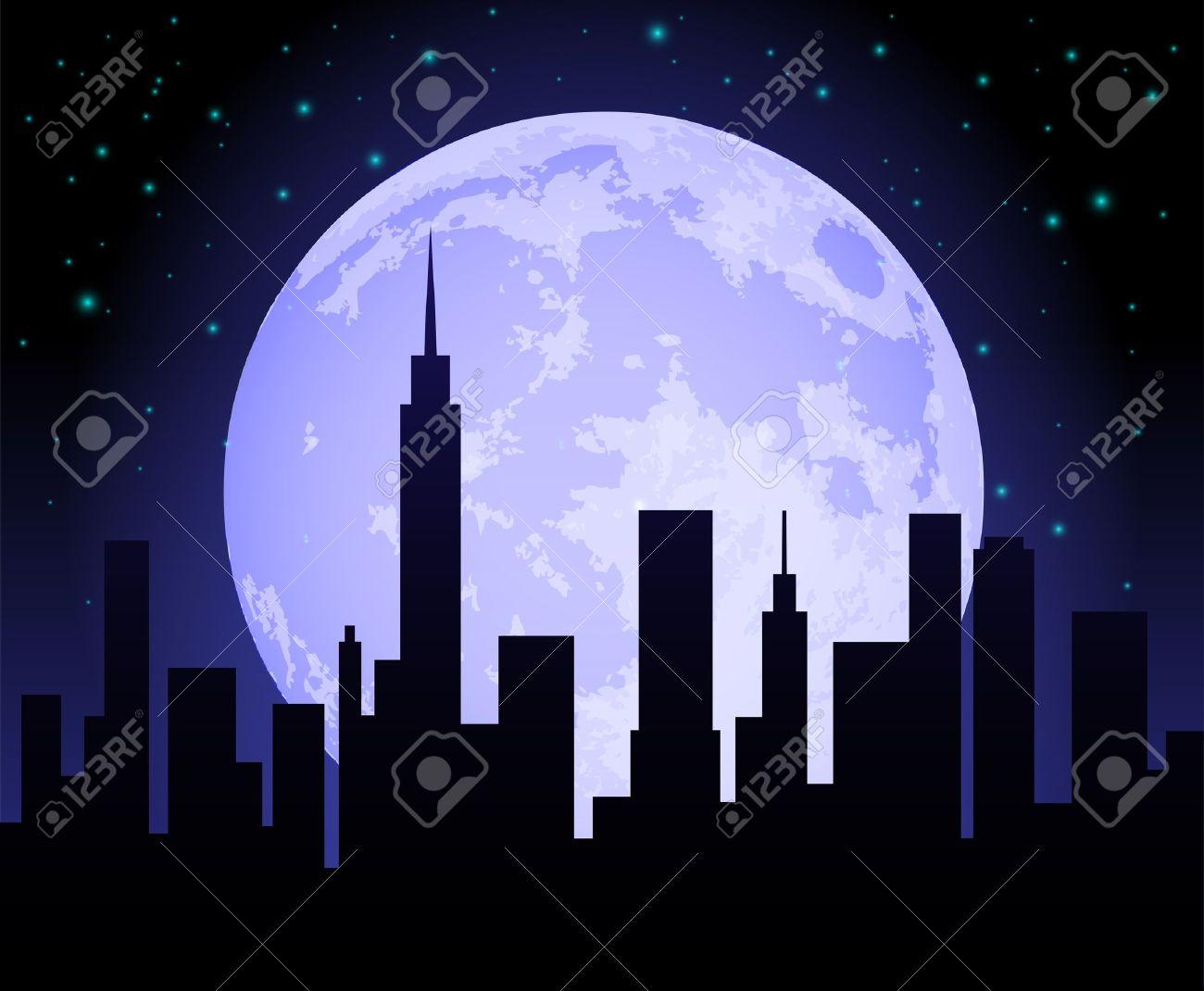 Cartoon City Skyline Night City Night City Skyline at