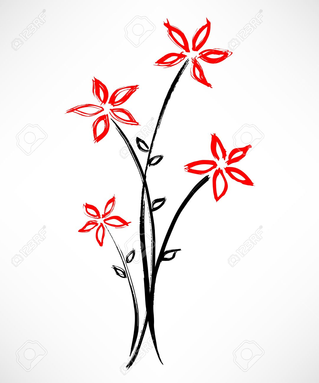 Simple Flower Painting Stock Vector - 10461651