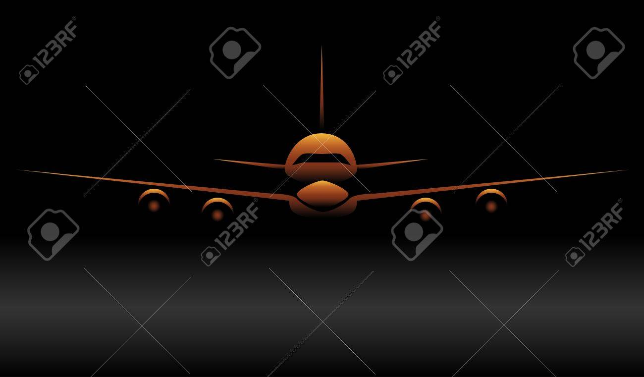 Gold airplane silhouette Stock Vector - 10461702