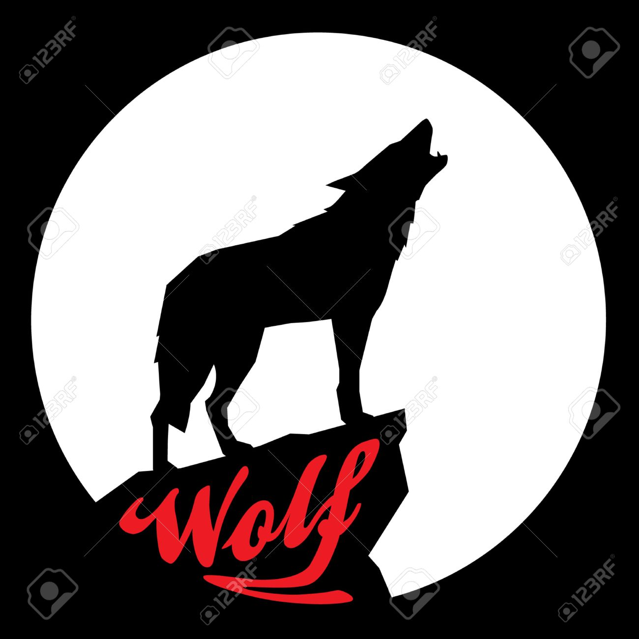 full moon with howling wolf silhouette stock vector 40679767