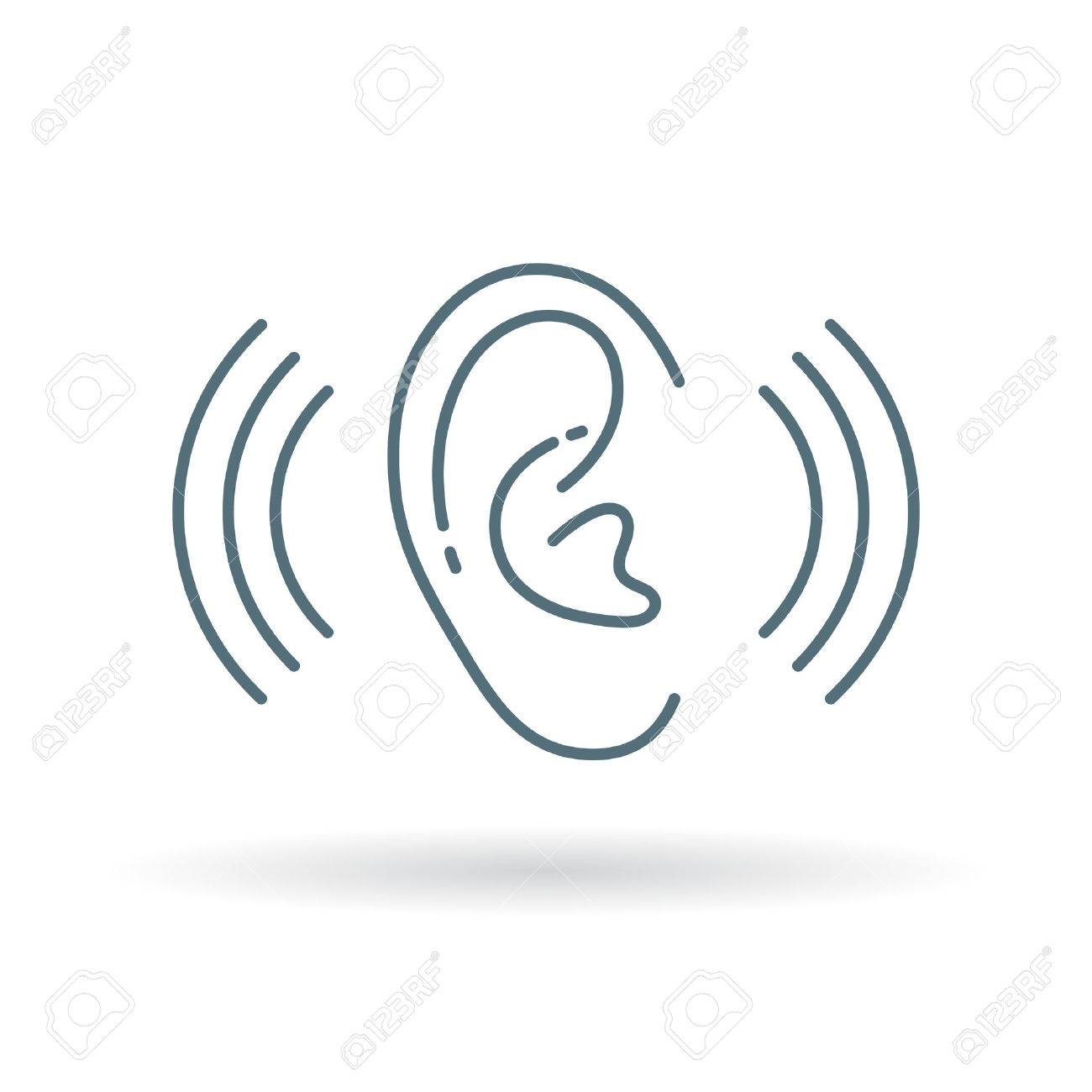 Ear Hearing Sound Icon Ear Hearing Volume Sign Ear Hearing