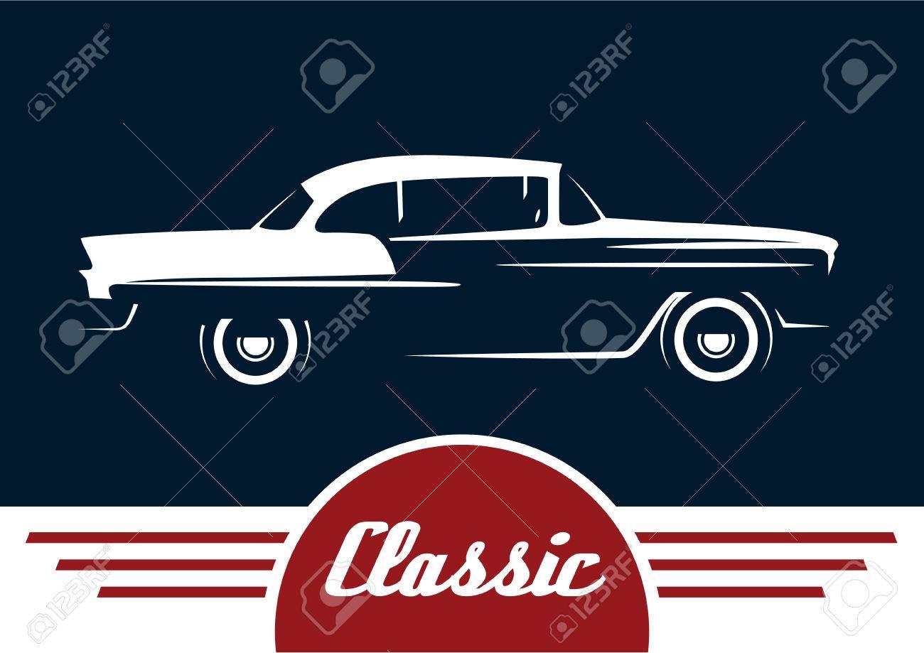 Classic Vehicle Vintage Car Silhouette Design Vector Illustration