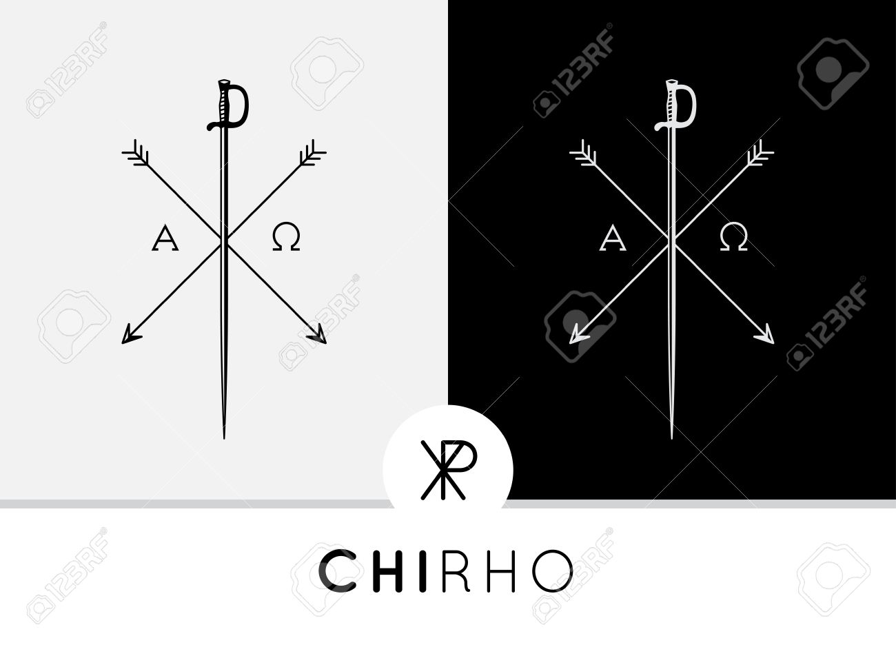 Conceptual abstract chi rho symbol design with sword arrows conceptual abstract chi rho symbol design with sword arrows combined with alpha omega signs buycottarizona