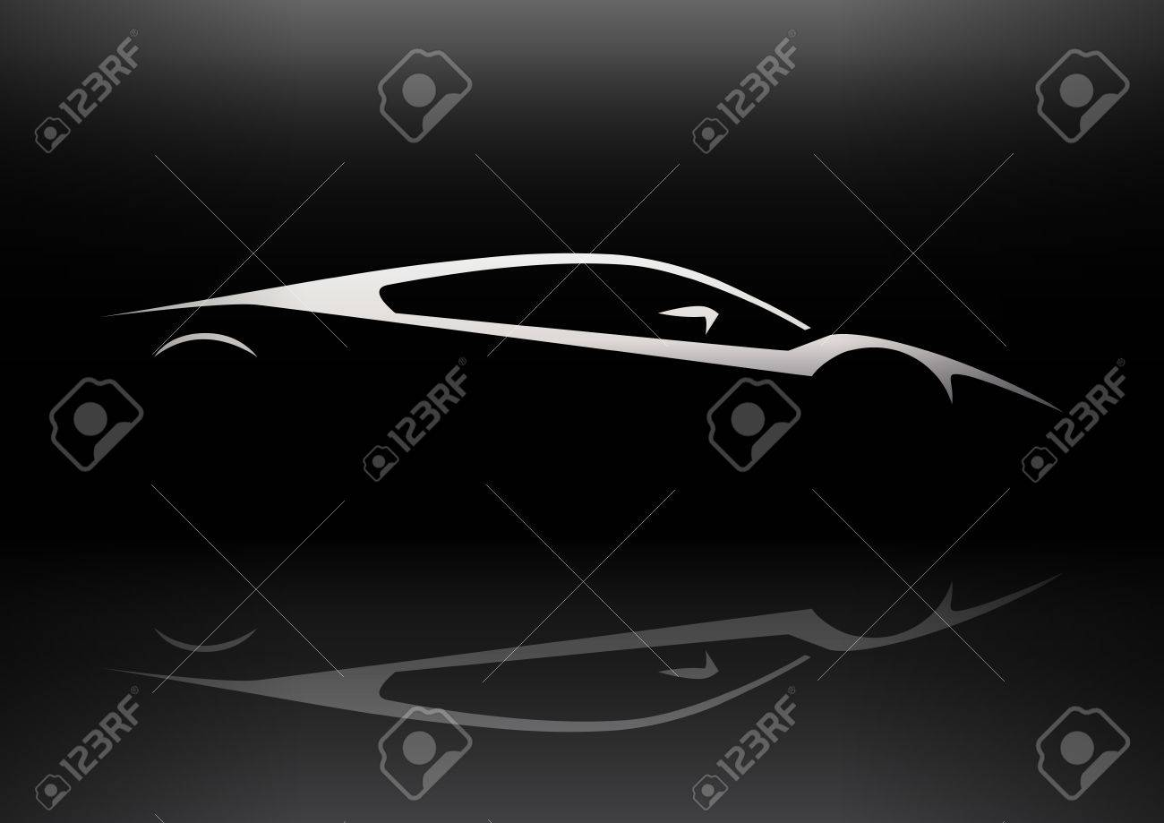 Sleek Supercar Vehicle Silhouette Concept Car Design Vector