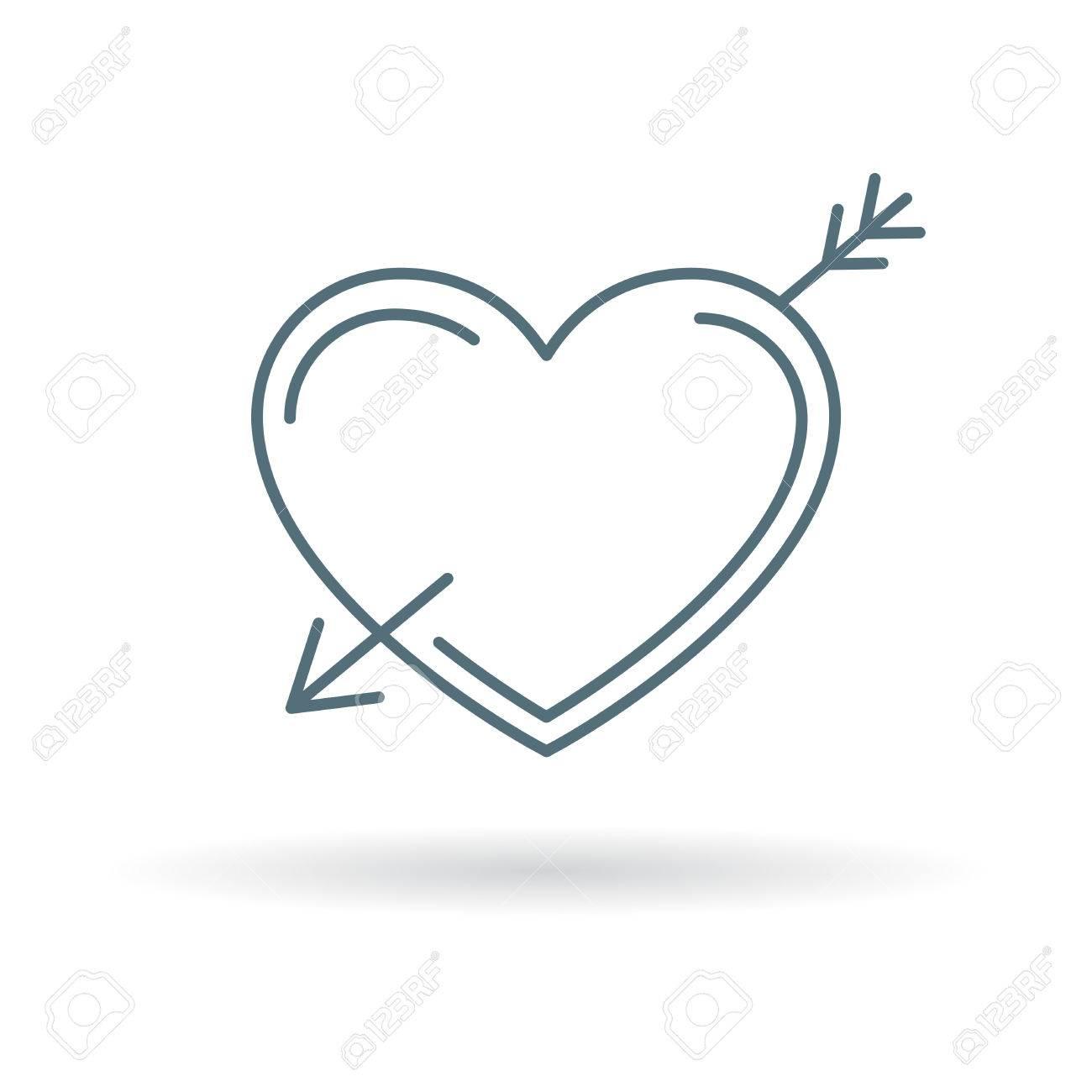 Arrow Heart Icon Arrow Heart Sign Arrow Heart Symbol Thin