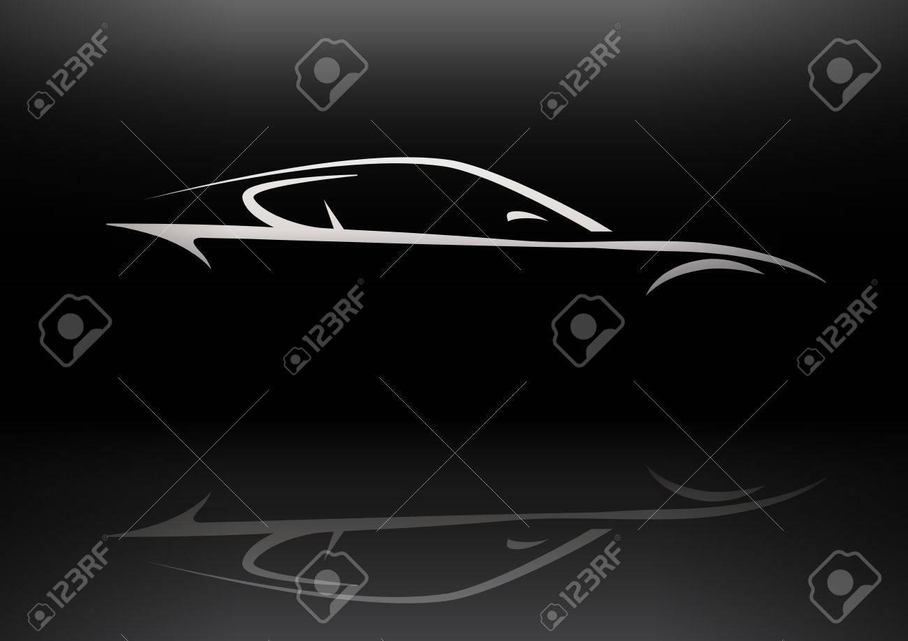 Conceptual Supercar Silhouette Vector Design With Reflection