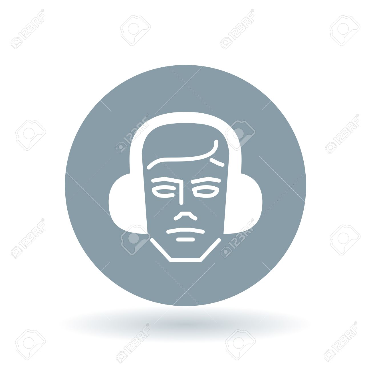 Construction Worker With Ear Muffs Icon Head With Ear Protection